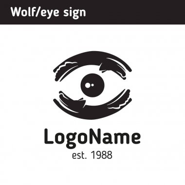 Logo of wolves and moon, eye