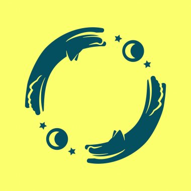 logo of wolves and moon