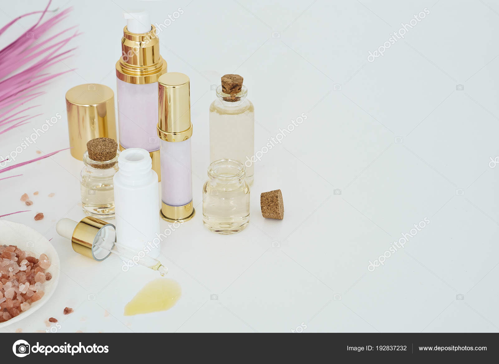 Beauty Skincare Products Pink Palm Leaf White Background Stock Photo C Christina Pauchi 192837232