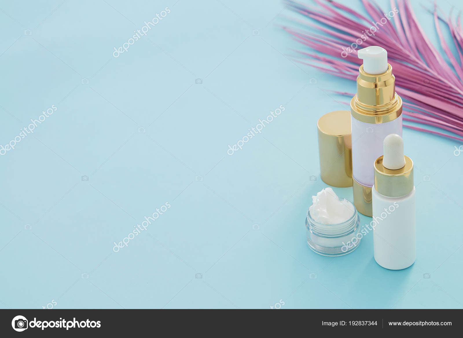 Natural Beauty Skincare Products Pink Palm Leaf Blue Background Stock Photo C Christina Pauchi 192837344