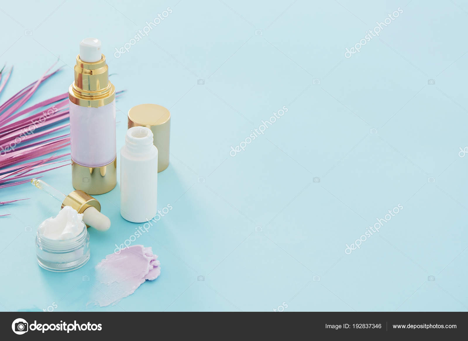 Natural Beauty Skincare Products Pink Palm Leaf Blue Background Stock Photo C Christina Pauchi 192837346