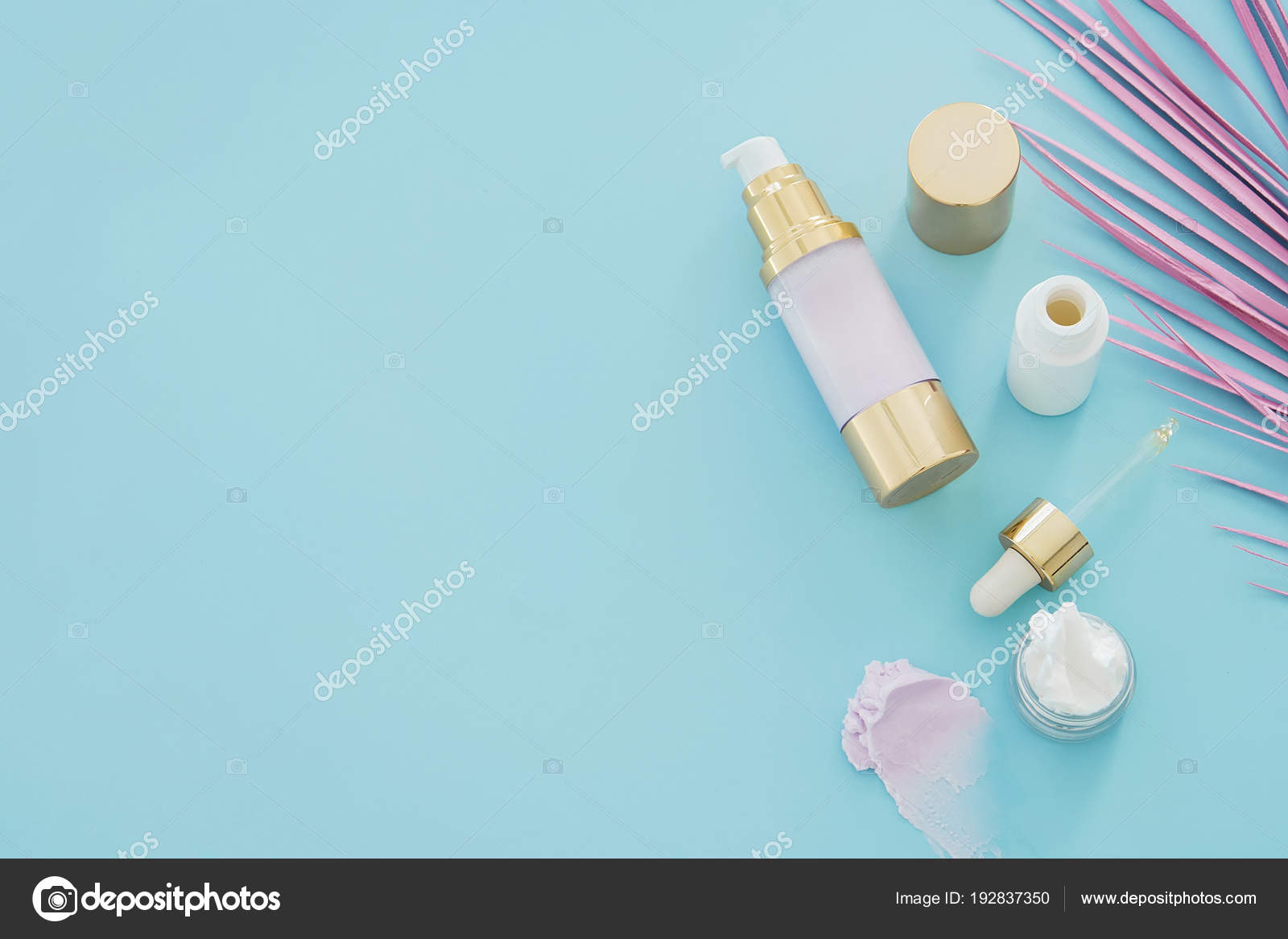 Natural Skincare Beauty Products Pink Palm Leaf Blue Background Stock Photo C Christina Pauchi 192837350