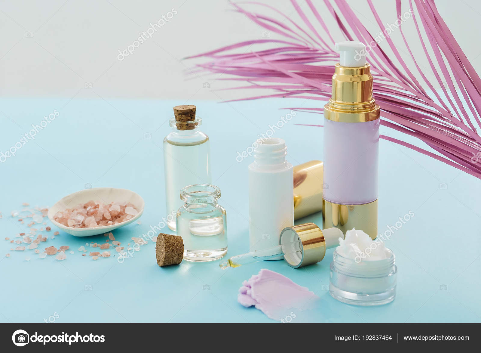Natural Skincare Beauty Products Pink Palm Leaf Blue Background Stock Photo C Christina Pauchi 192837464
