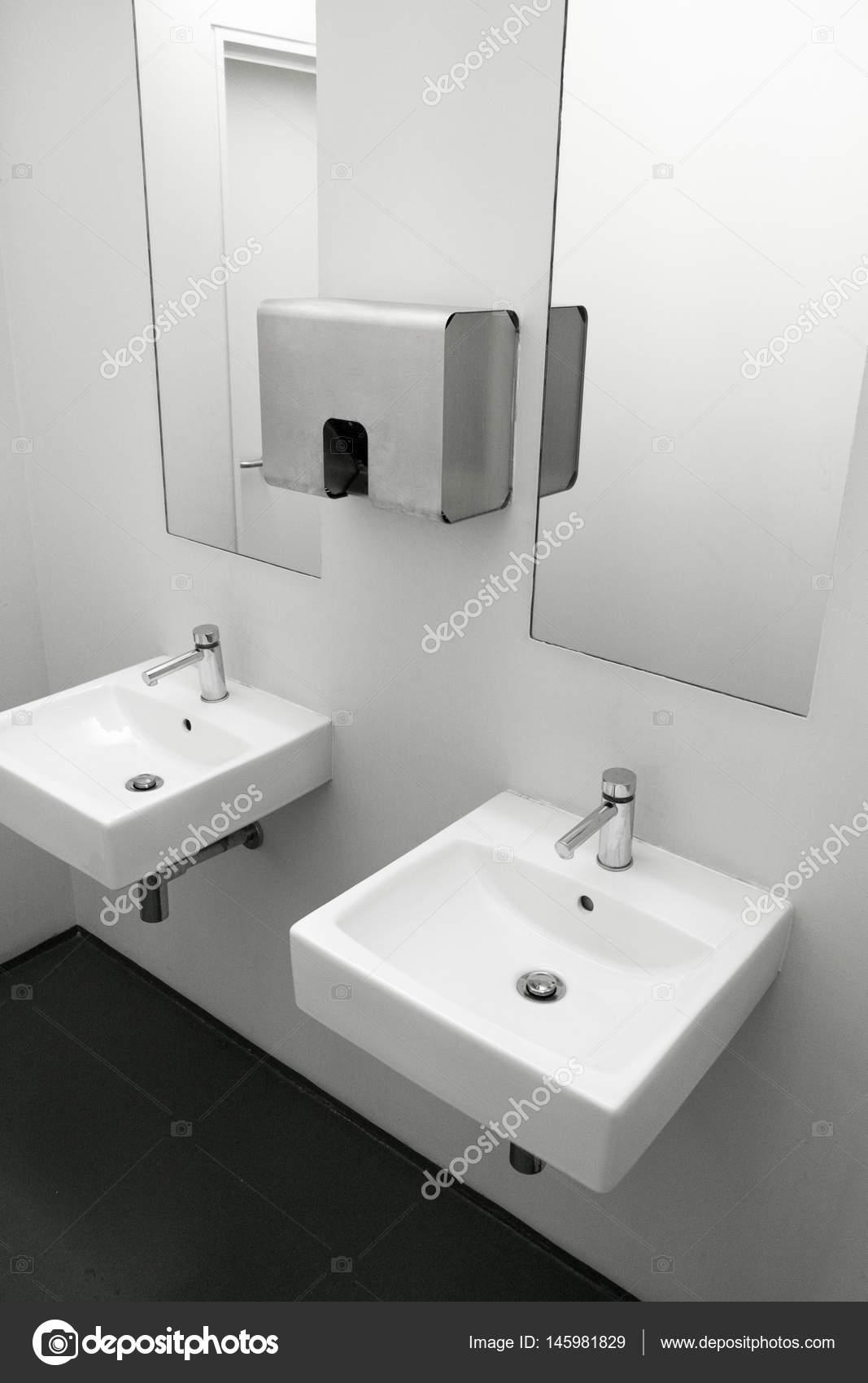 Ceramic Sink With Stainless Steel Accessories In Modern Washroom Two Sinks To European Public Toilet Washbasin White Bathroom
