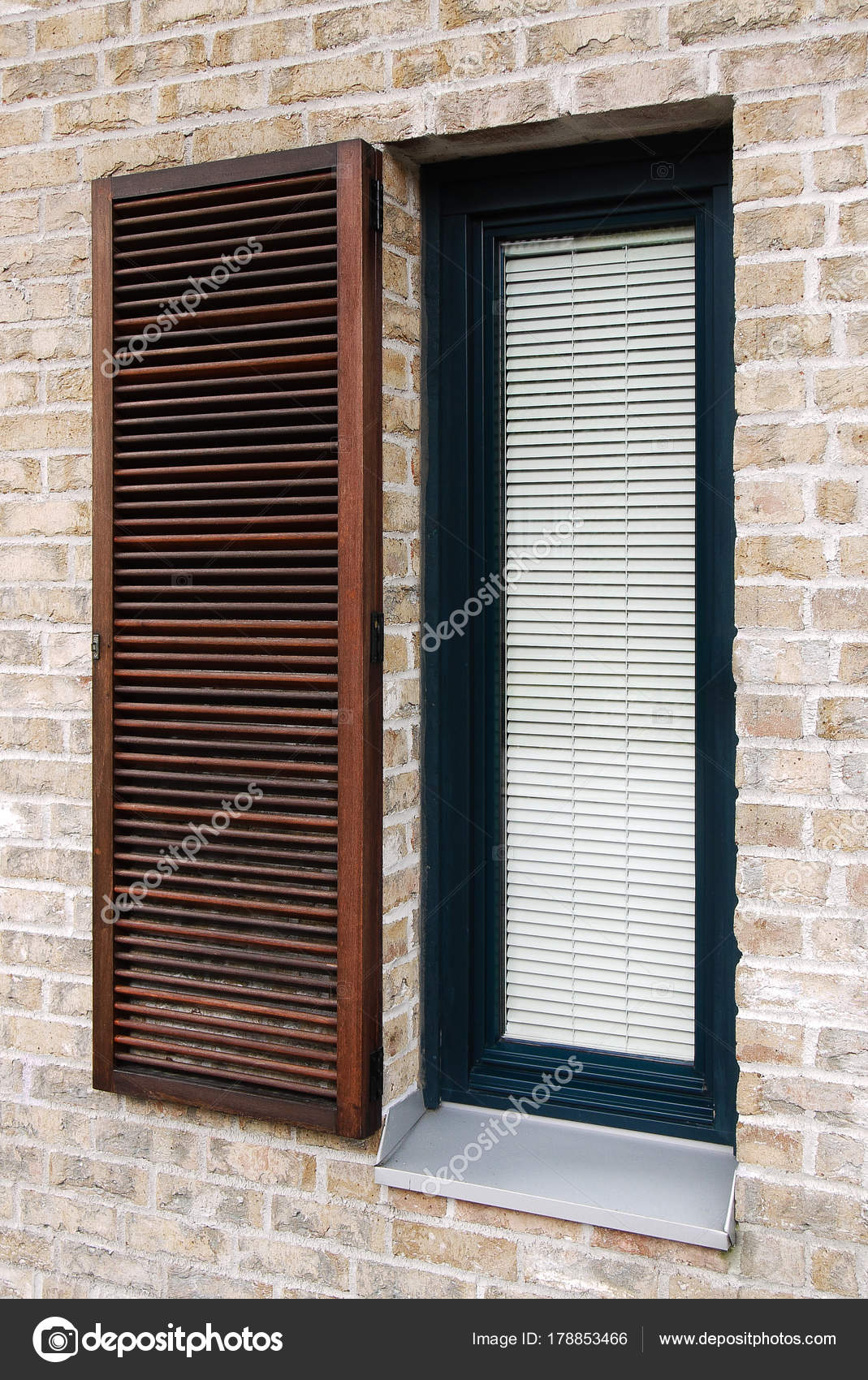 Blinds In Modern Window, Detail On Modern Brick Facade With Wooden Window  With Shading Elements, Contemporary Narrow Window With Metal Parapet U2014  Photo By ...