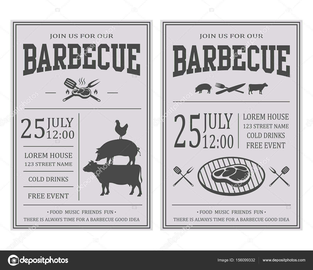 Favoriete Uitnodiging Vintage barbecue feest. BBQ, sjabloon voor food-folder  @CV24