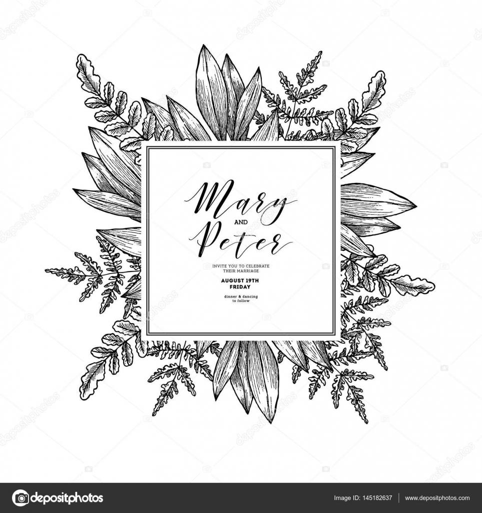 Wild Lasst Hochzeitseinladung Vintage Floral Design Vorlage