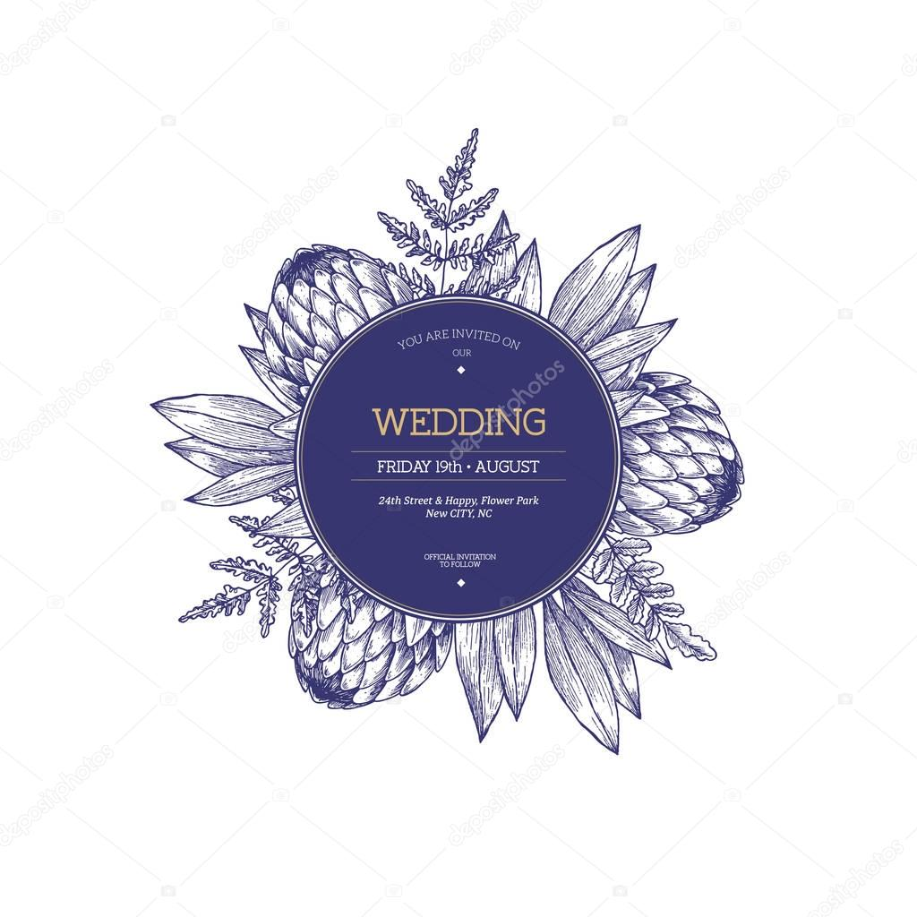 Protea flower wedding invitation. Vintage floral design template.