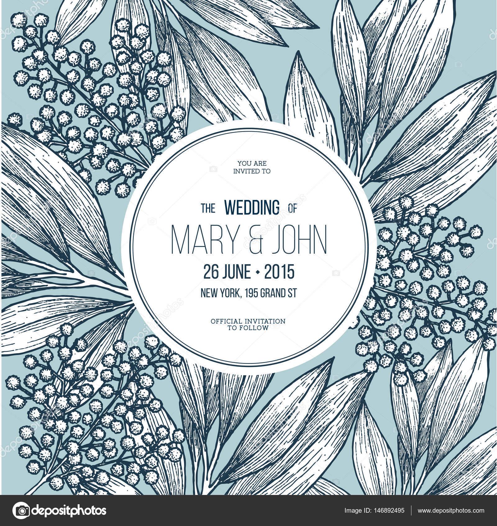 Mimosa Blume Hochzeitseinladung Vintage Floral Design Vorlage