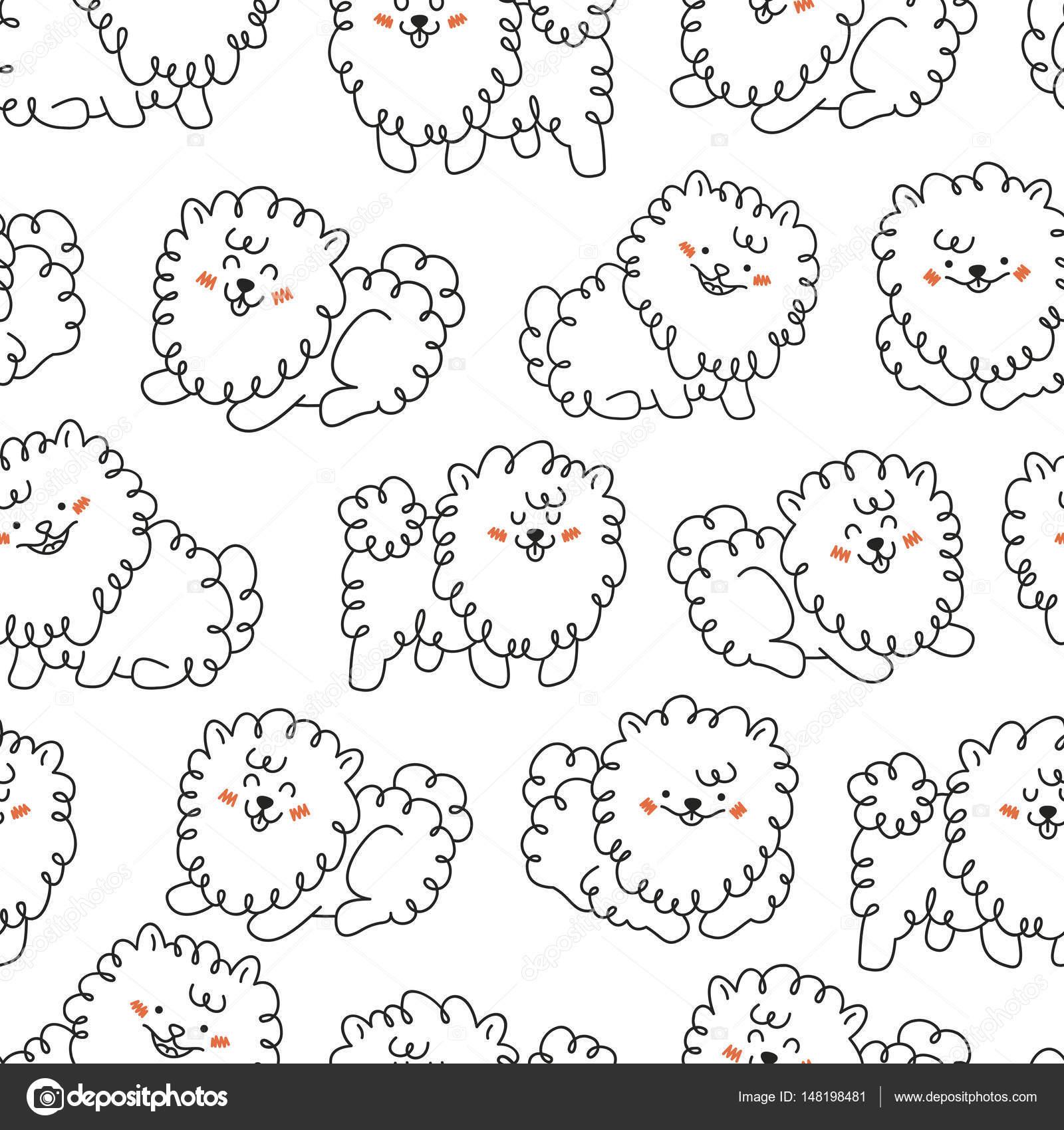 かわいい犬のシームレスなパターン手書きの動物背景ベクトル図
