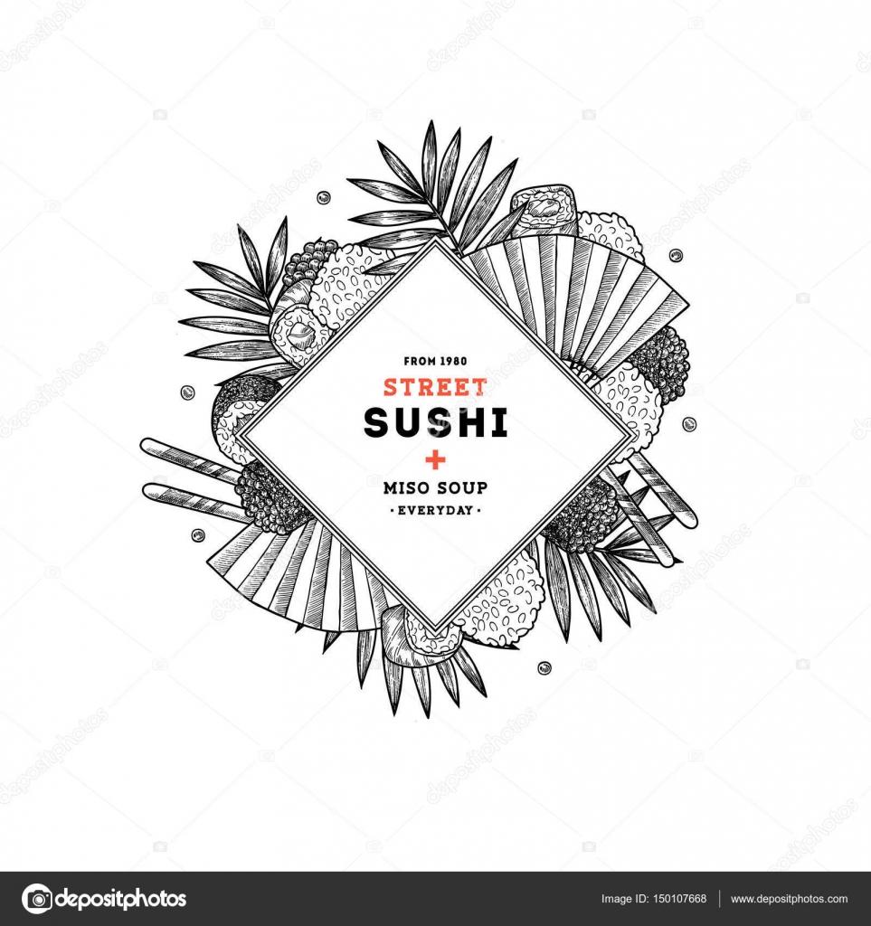 Menu Restauracji Sushi Cały Skład Kuchnia Azjatycka Tła