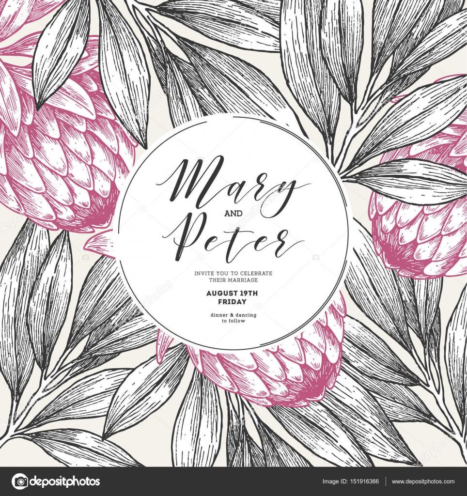 Das Protea Blume Hochzeitseinladung Vintage Floral Design Vorlage