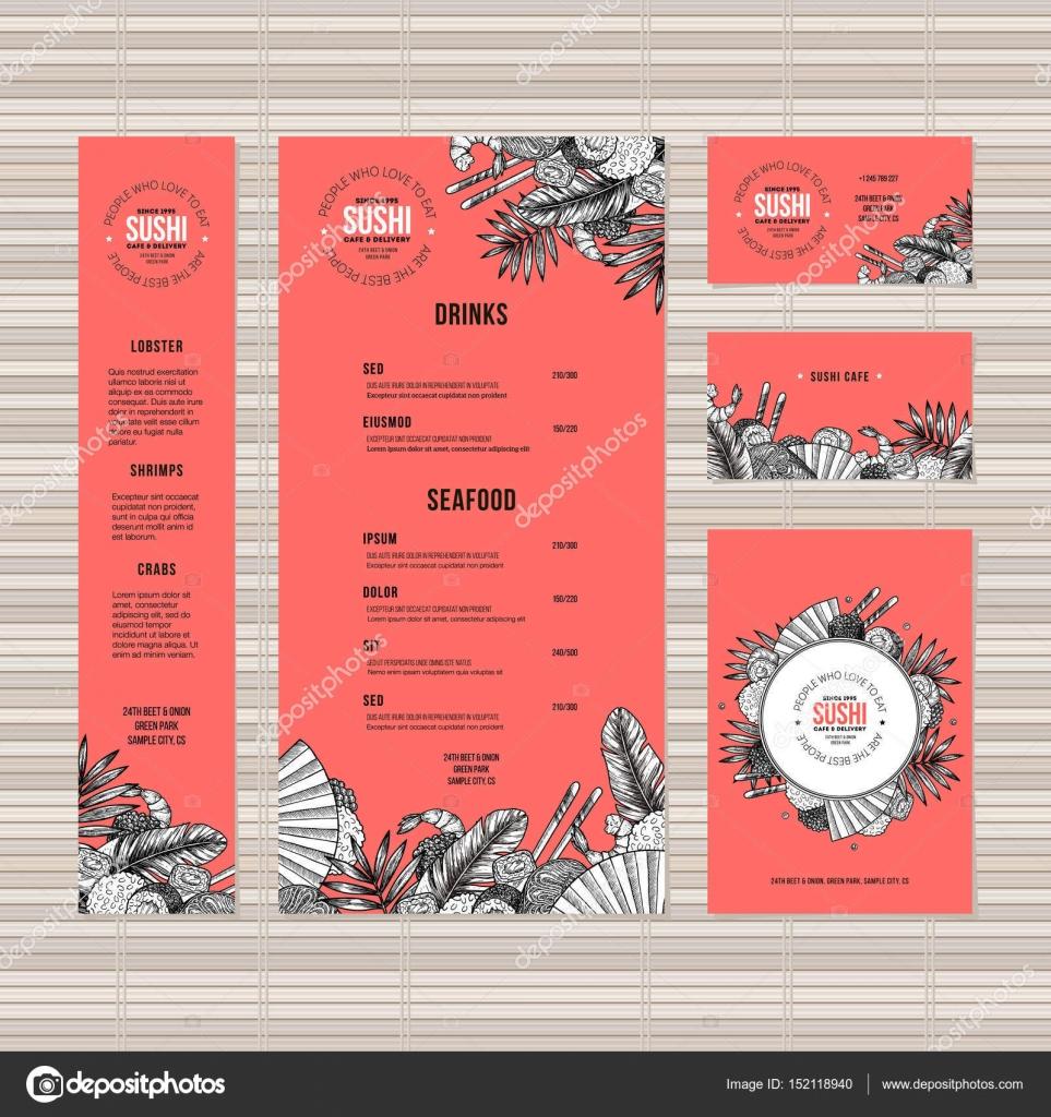 Szablon Menu Sushi Kuchnia Azjatycka Restauracja Tożsamości