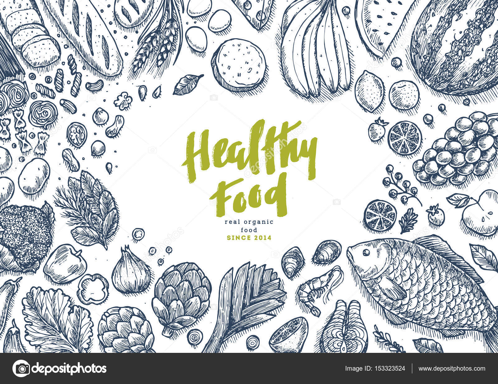Healthy Food Collection Good Nutrition Table Background Linear Graphic Stock Vector C Adehoidar 153323524