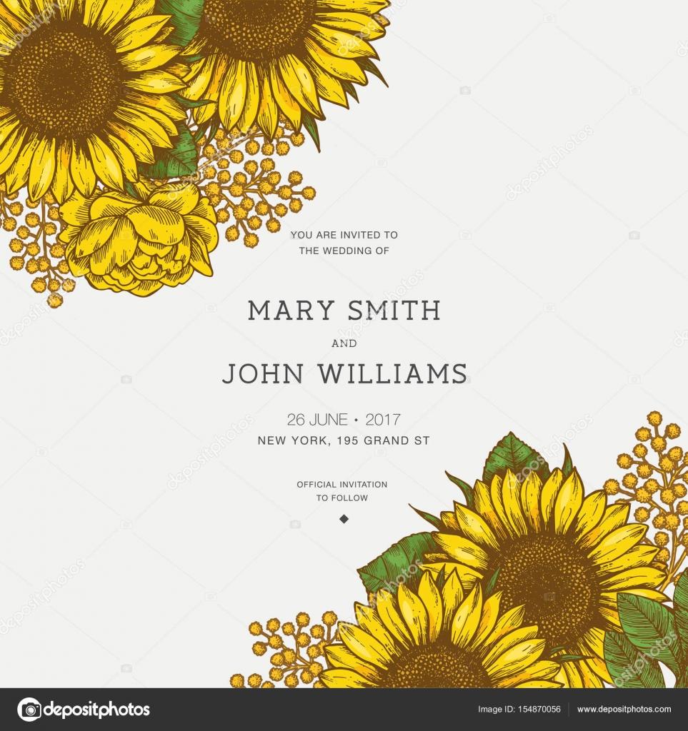 sunflower vintage wedding invitation sunflowers card design vector