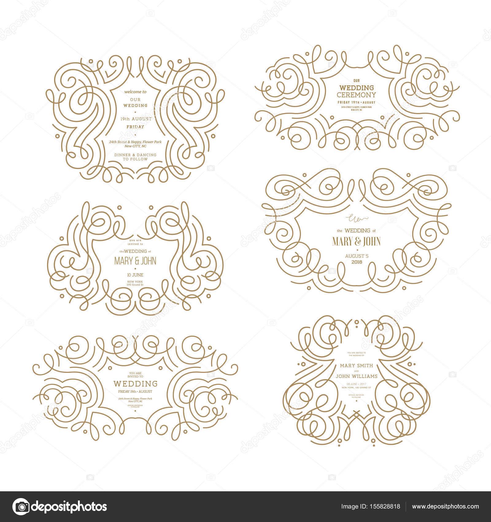 Hochzeit-ornamentalen Frames-Auflistung. Dünne Linie Oldtimer ...