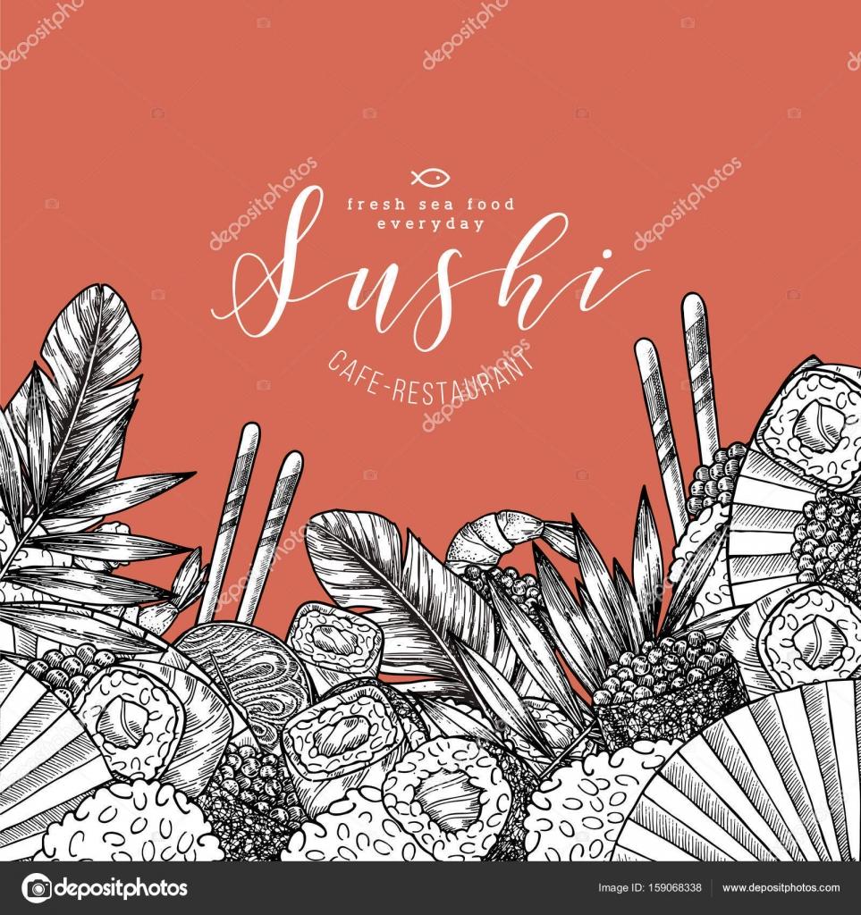 Sushi Restaurant Menu Szablon Projektu Kuchnia Azjatycka