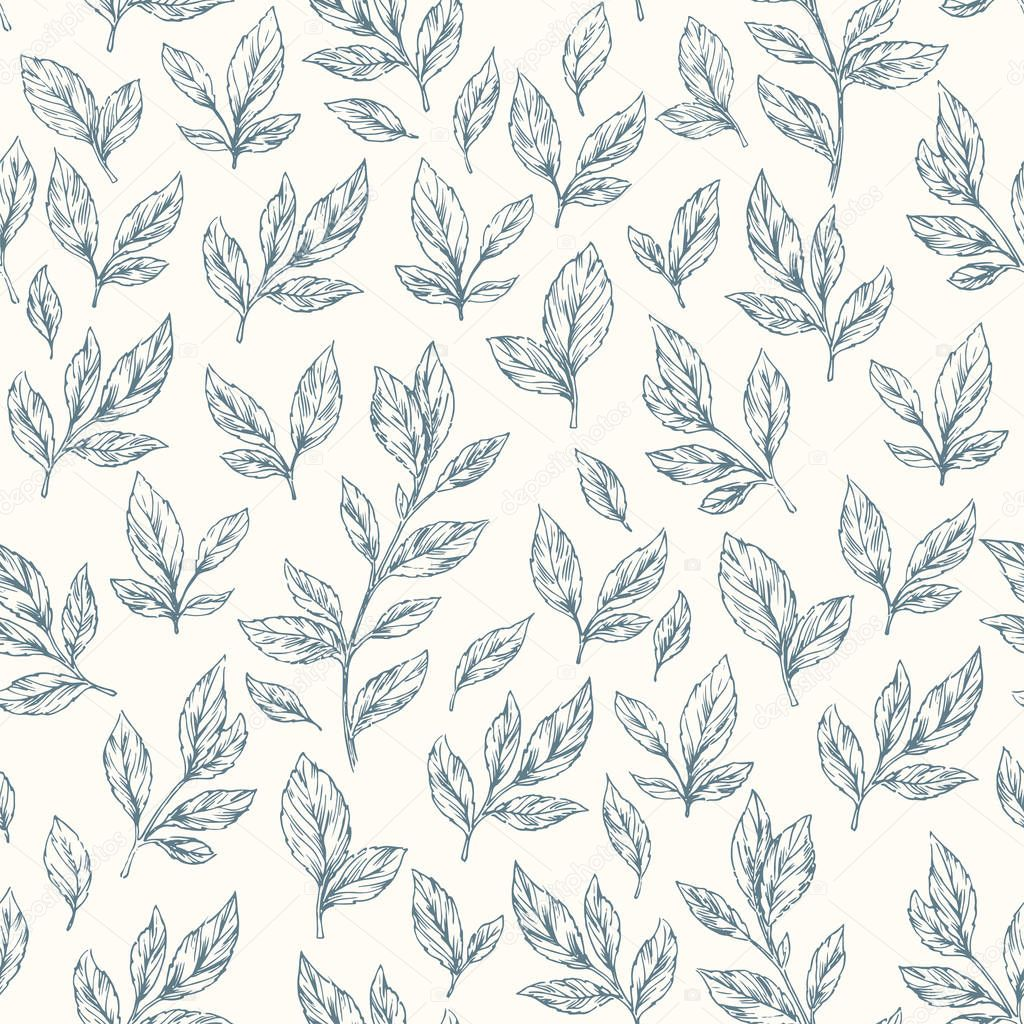 Hand drawn leaf seamless pattern.
