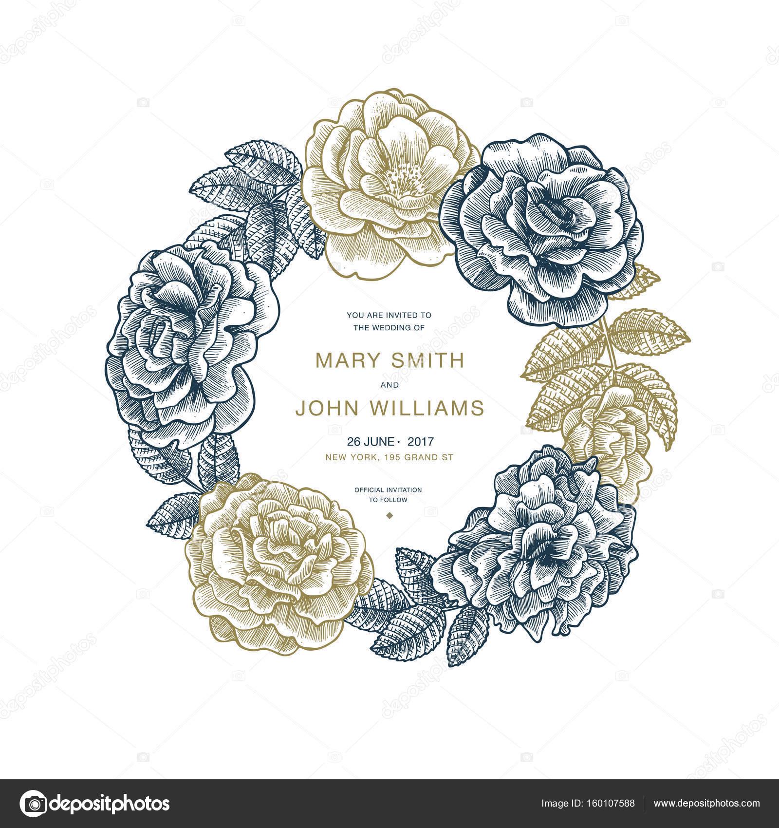 Blumige Hochzeitseinladung Vintage Blumen Grusskarte Vektor