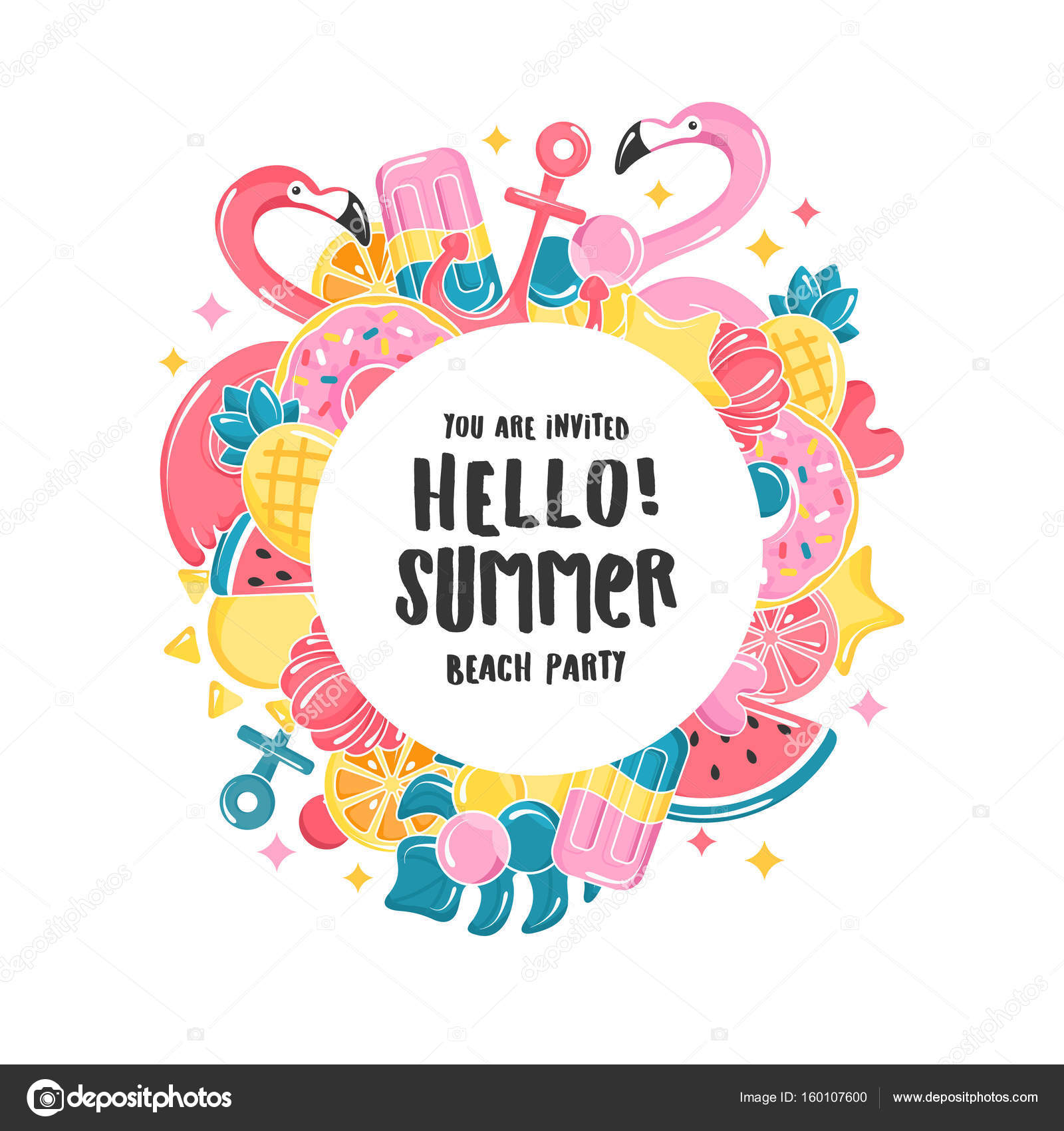 Summer design template. Balloons set. Flamingo, ice cream ...