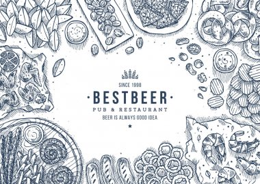 Beer snacks collection. Pub dinner. Top view illustration. Vector illustration