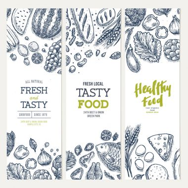 Healthy food banner collection. Good nutrition backgrounds. Linear graphic. Hero image. Vector illustration