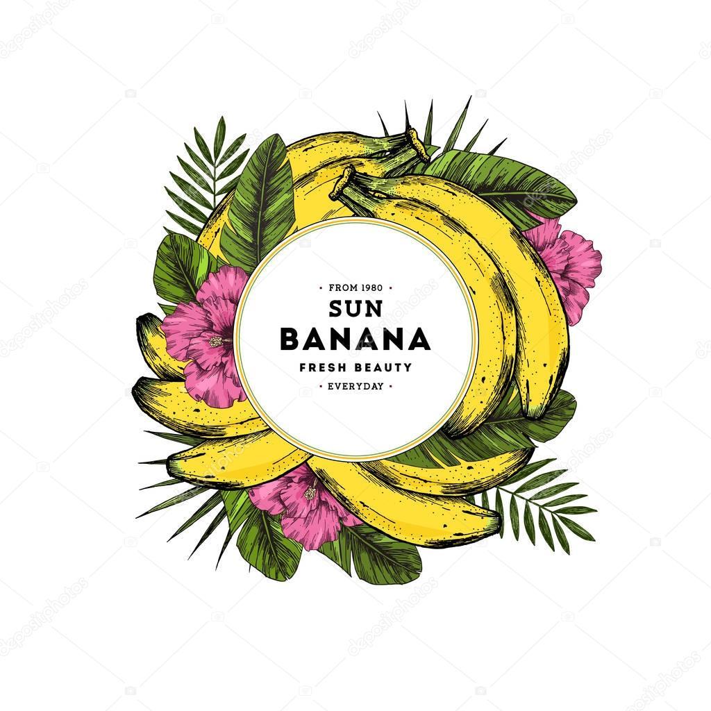 Banana and tropical leaf round design template. Banana illustration. Vector illustration