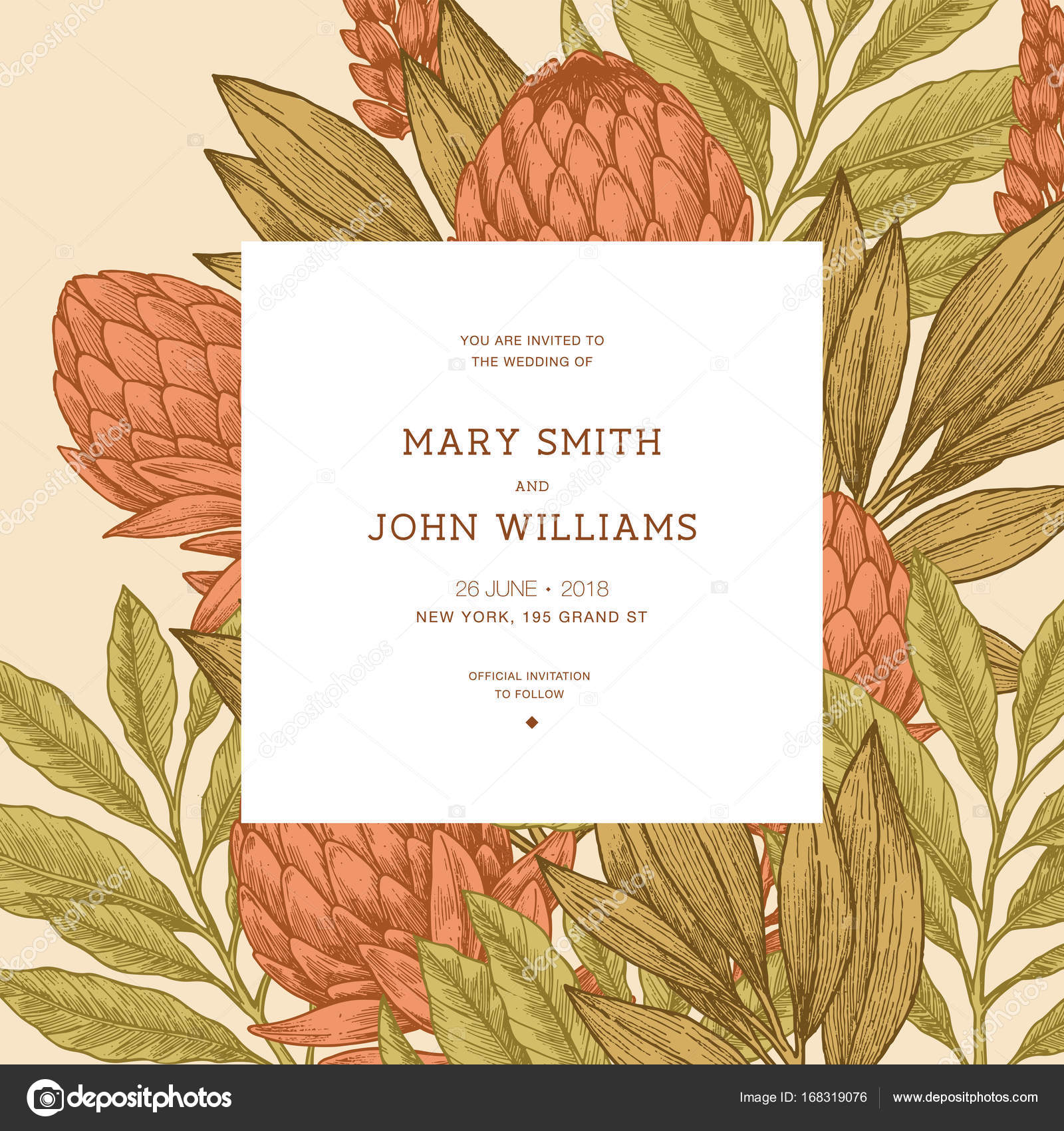 Floral vintage wedding invitation protea botanical vintage floral vintage wedding invitation protea botanical vintage background vector illustration stock vector stopboris Gallery