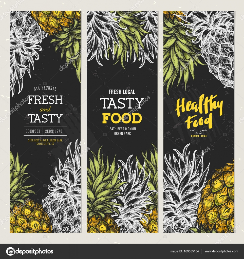 chalkboard pineapple banner collection vintage design templates