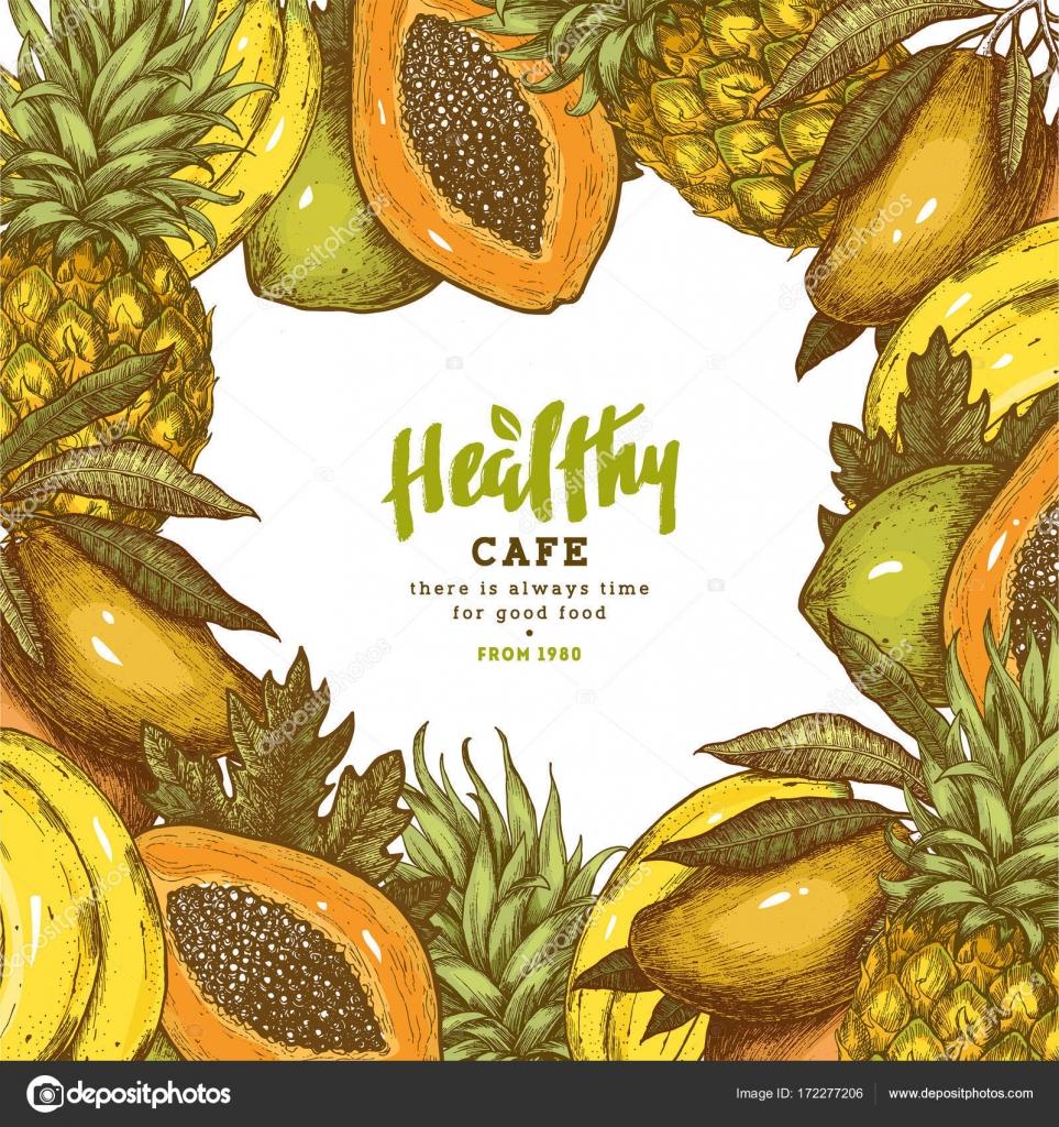 Frisches Obst-Frame. Tropische Früchte-Design-Vorlage. Vektor ...