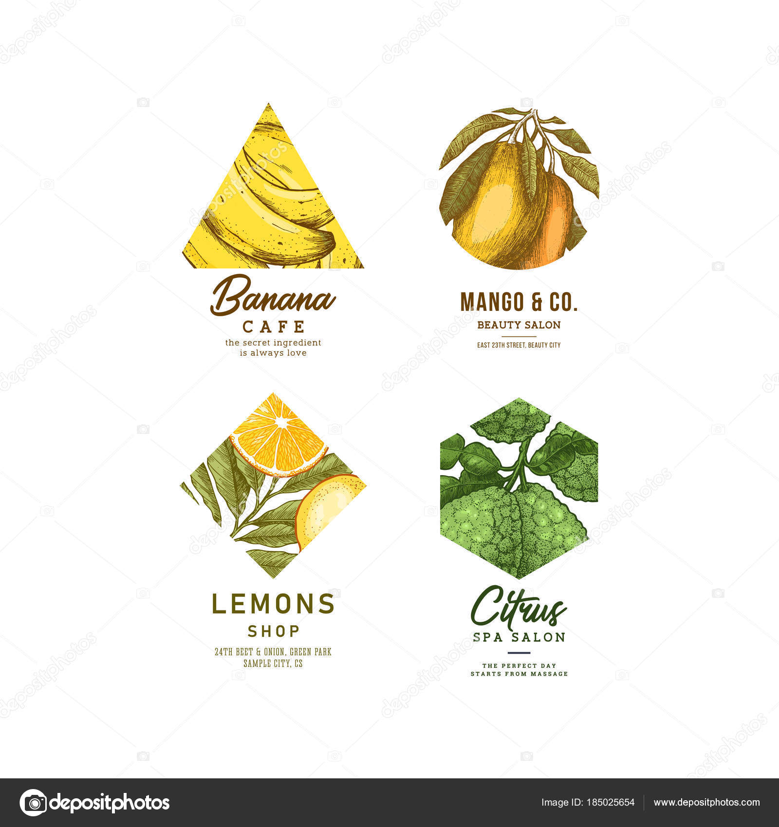 Fresh Fruit Logo Collection Engraved Logotype Set Tropical Fruit