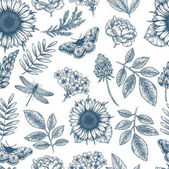 Floral seamless pattern. Linear sketchy style flower elements. Vintage fabric design.
