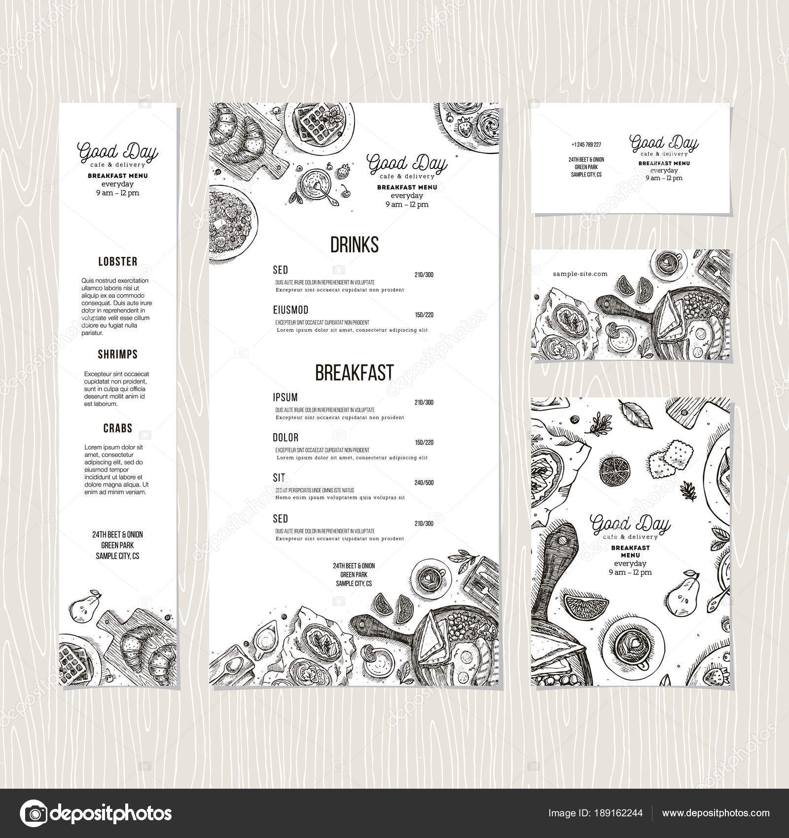 cafe breakfast menu template cafe identity vector illustration stock vector