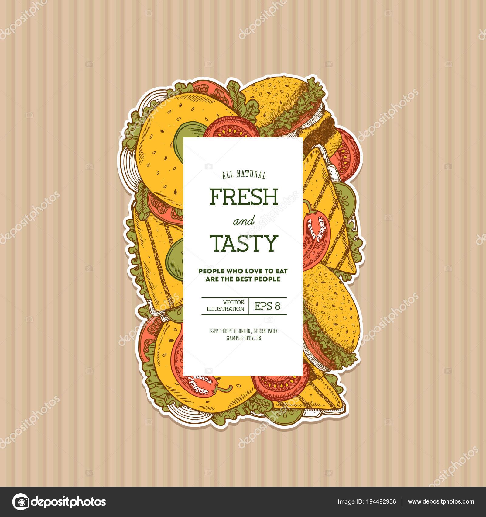 summer burger on cardboard vertical design template snack