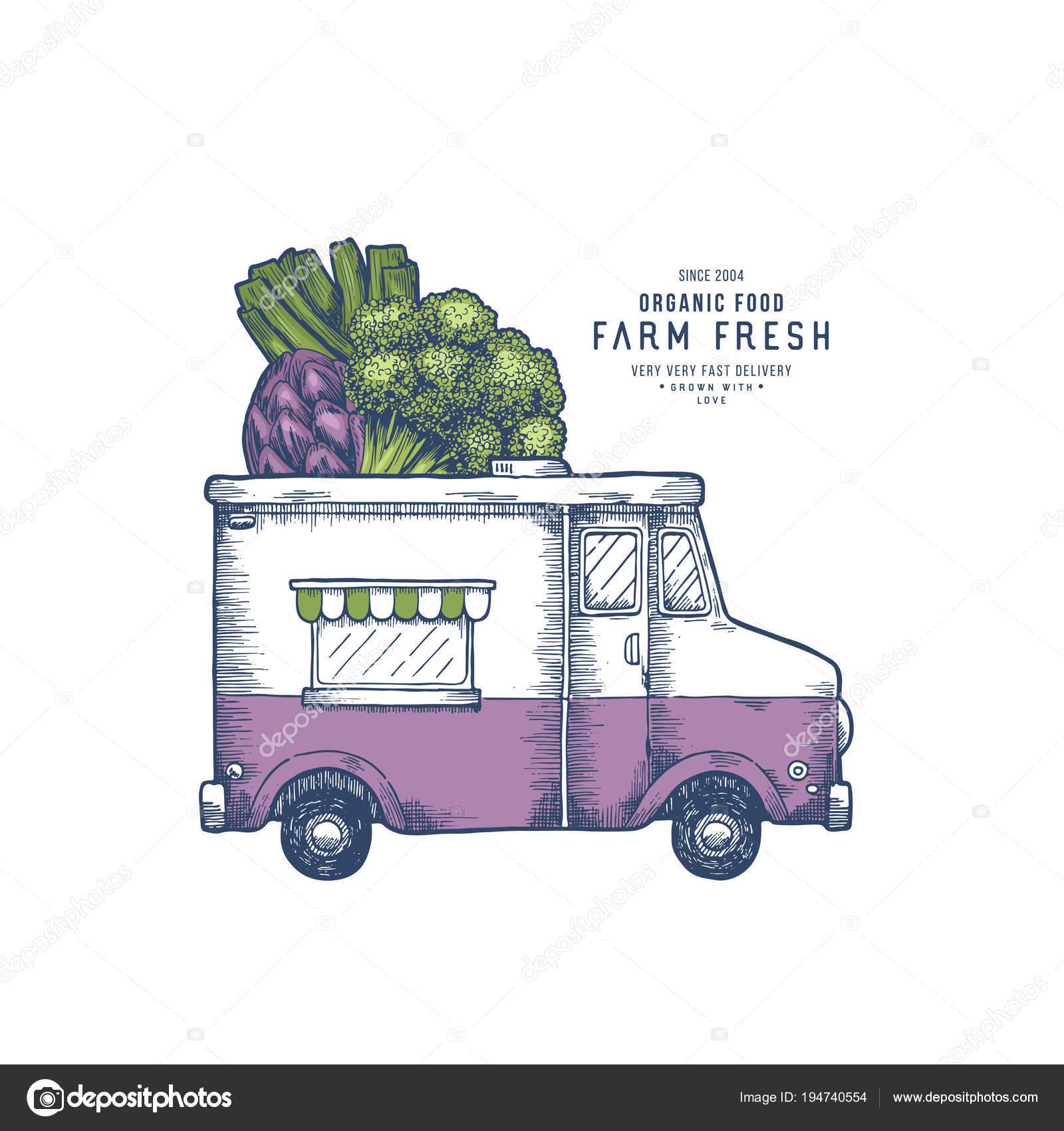 Farm Fresh Delivery Design Template Classic Food Truck With Organic - Food truck design template