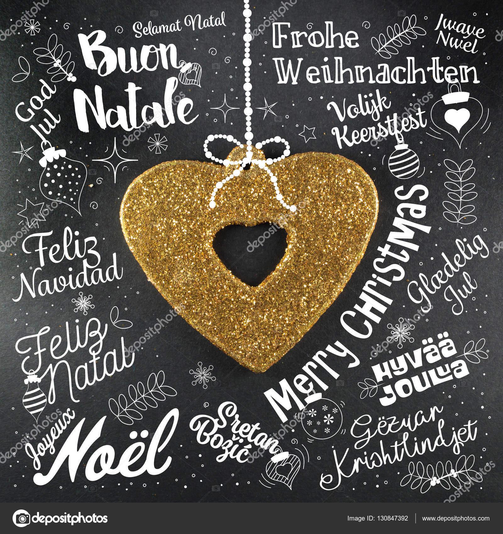 Frohe Weihnachten-Grußkarte aus Welt in verschiedenen Sprachen ...