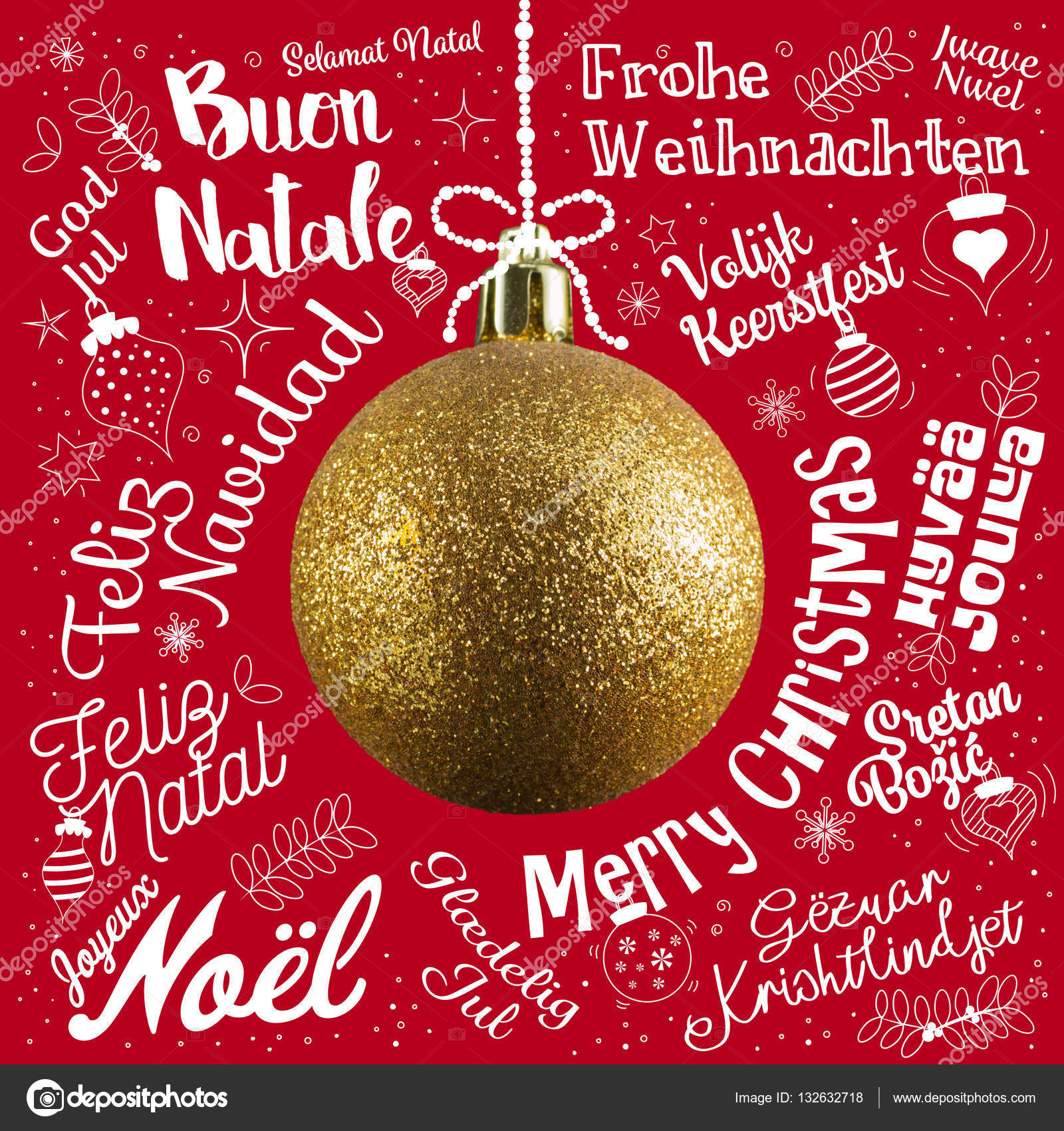 Merry Christmas In Different Languages.Merry Christmas Greetings Card From World In Different