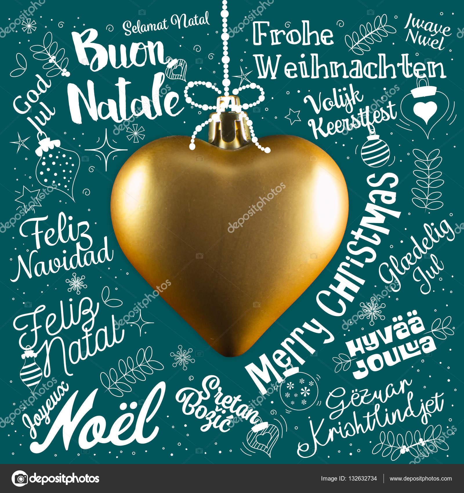Frohe Weihnachten In Allen Sprachen.Frohe Weihnachten Grusskarte Aus Welt In Verschiedenen