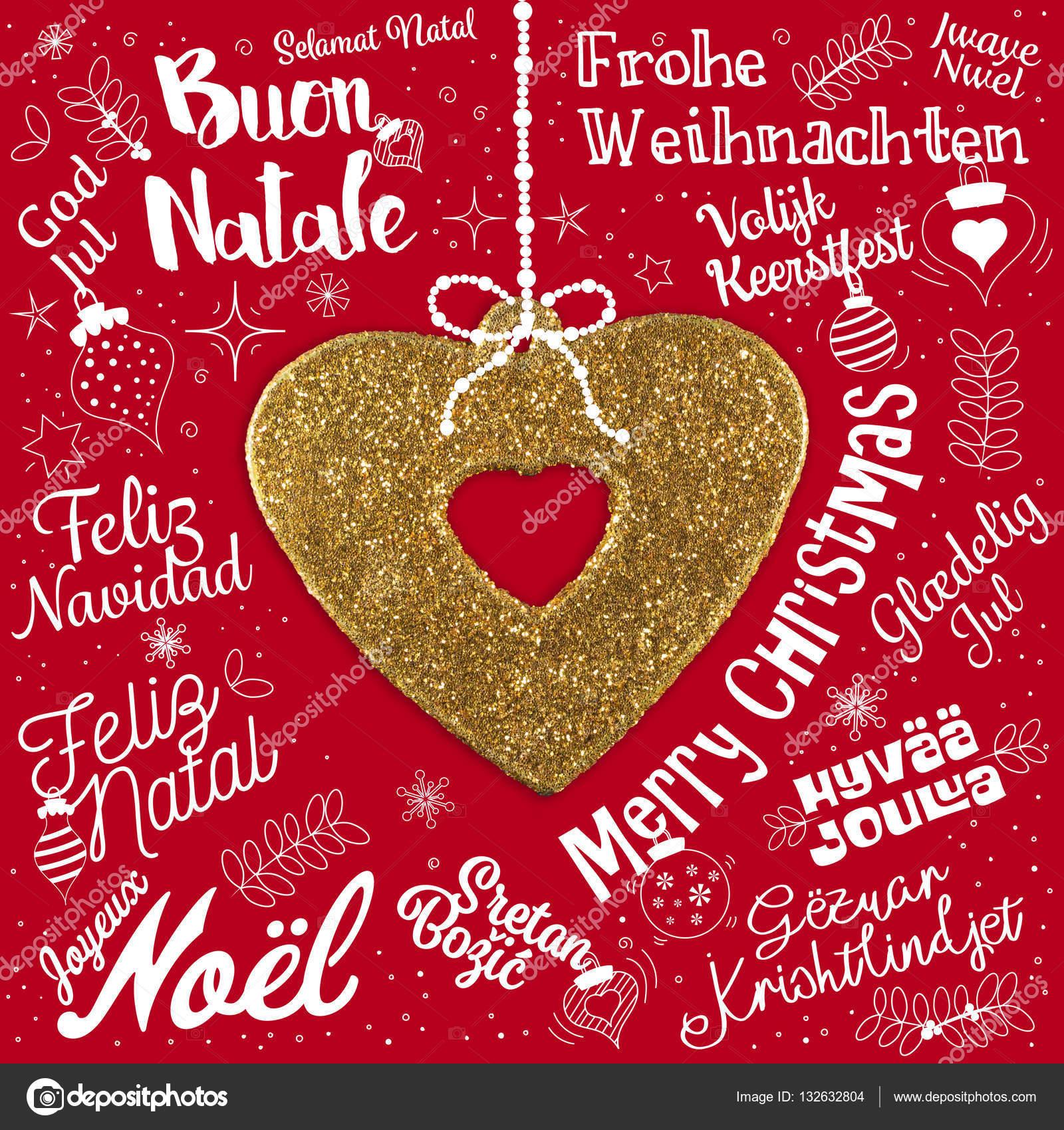 Frohe Weihnachten Auf Allen Sprachen.Frohe Weihnachten Grußkarte Aus Welt In Verschiedenen Sprachen