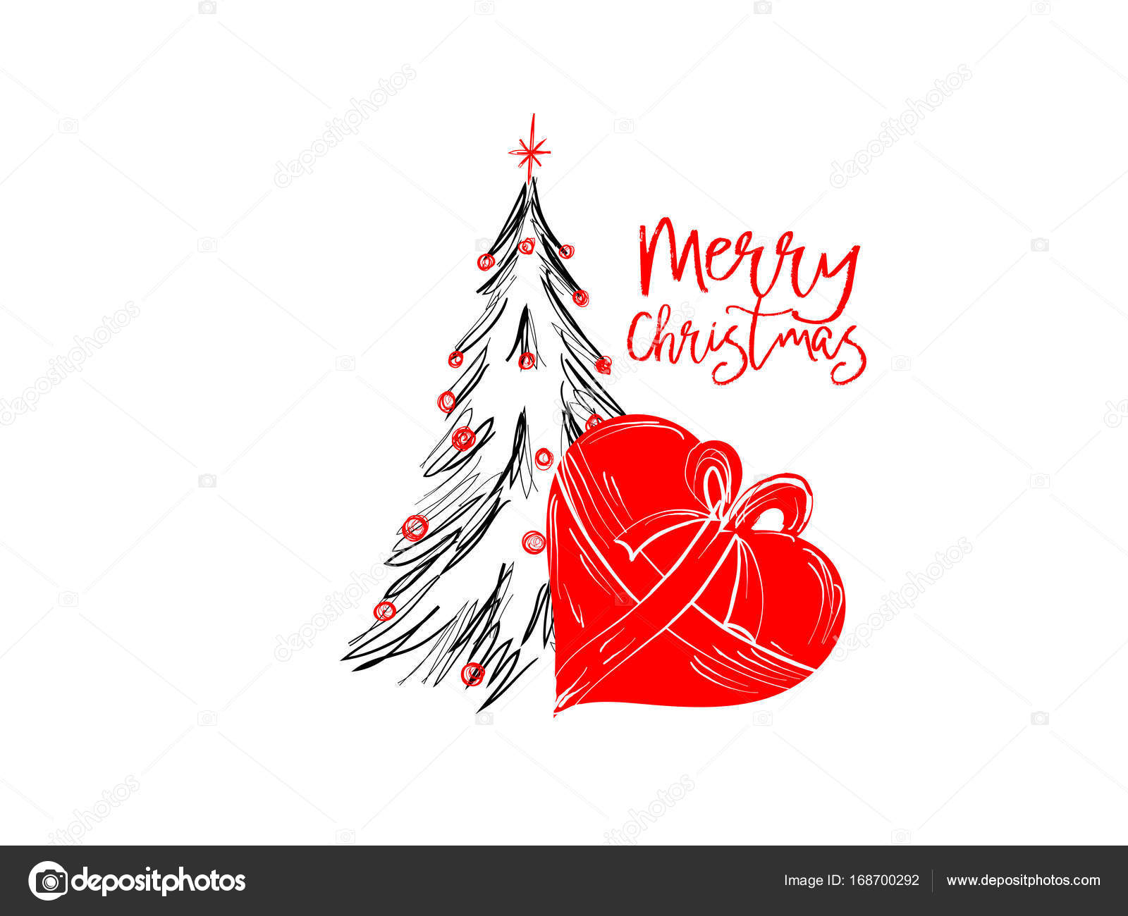 Merry christmas greetings cards hand draawn with black and rec ink merry christmas greetings cards hand draawn with black and rec ink pens for loving holidays m4hsunfo