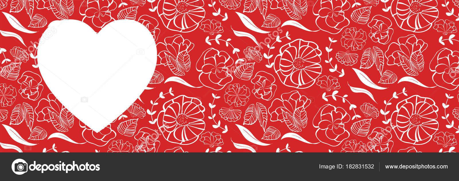 Red Heart Shape Floral Pattern Background Love Romance Wedding Marriage Stock Vector C Mm Studio 182831532