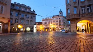 PRAGUE - JUNE 6: Time lapse shot of Night traffic in the center of Prague on June 6, 2017 in Prague.