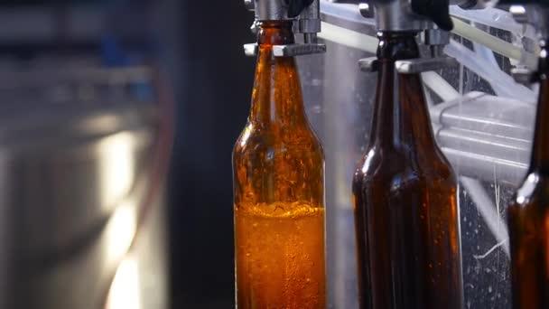 Kisvállalkozás és gyártási koncepció. Sörfőzdében töltött sörösüveg