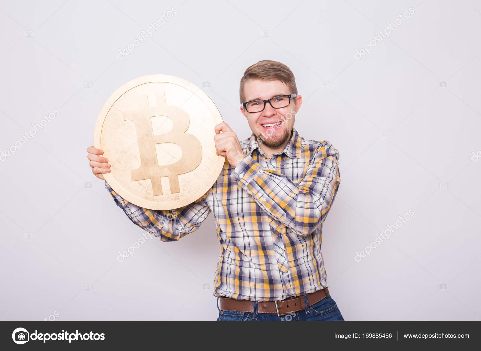 Glücklich Bitcoin Liebhaber Mit Großen Goldenen Münze Lustige