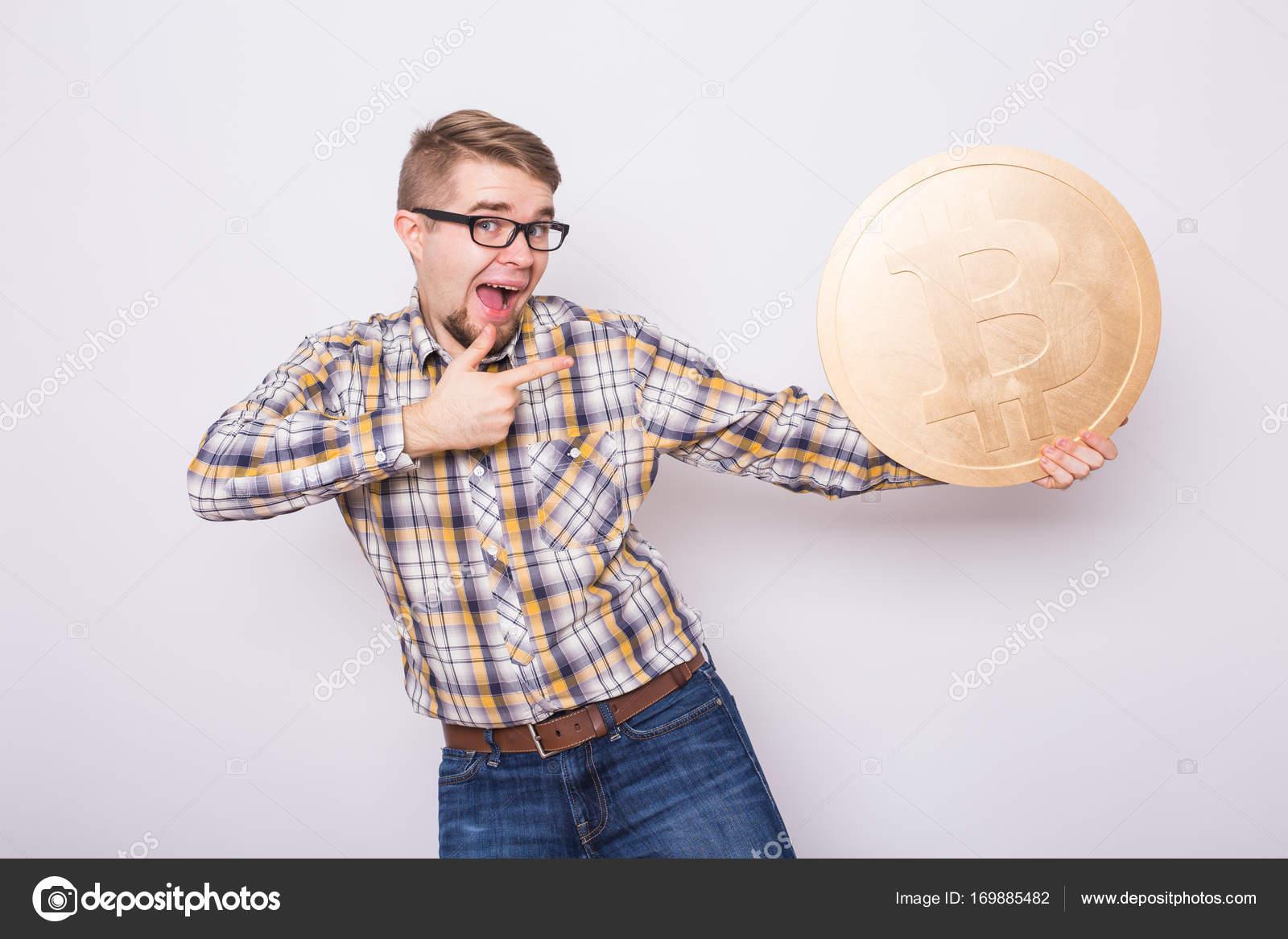 Lustige Bitcoin Liebhaber Mit Großen Goldenen Münze Lustige