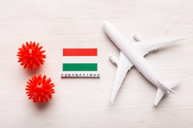 Flight ban and closed borders for tourists and travelers with coronavirus covid-19. Airplane and flag of Hungary on a white background. Coronavirus pandemic.