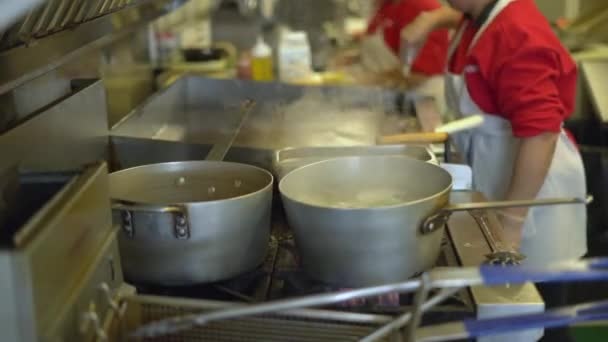 Pots and pans in a busy commercial kitchen