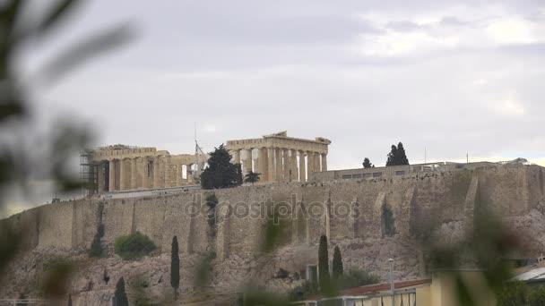 View of the distant Parthenon on the Acropolis
