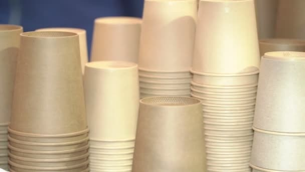 Many cardboard paper cups for coffee or other drinks