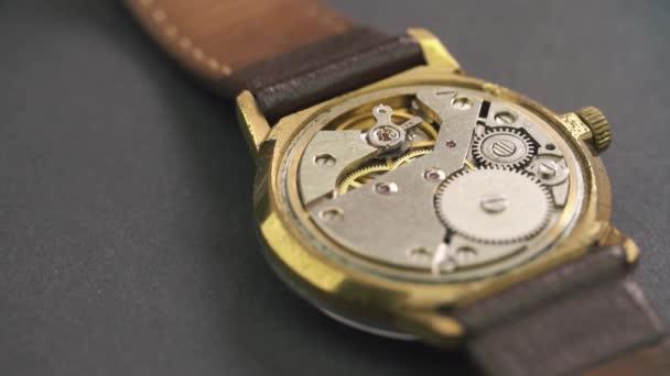 Close up of clockwork drive in a classy watch